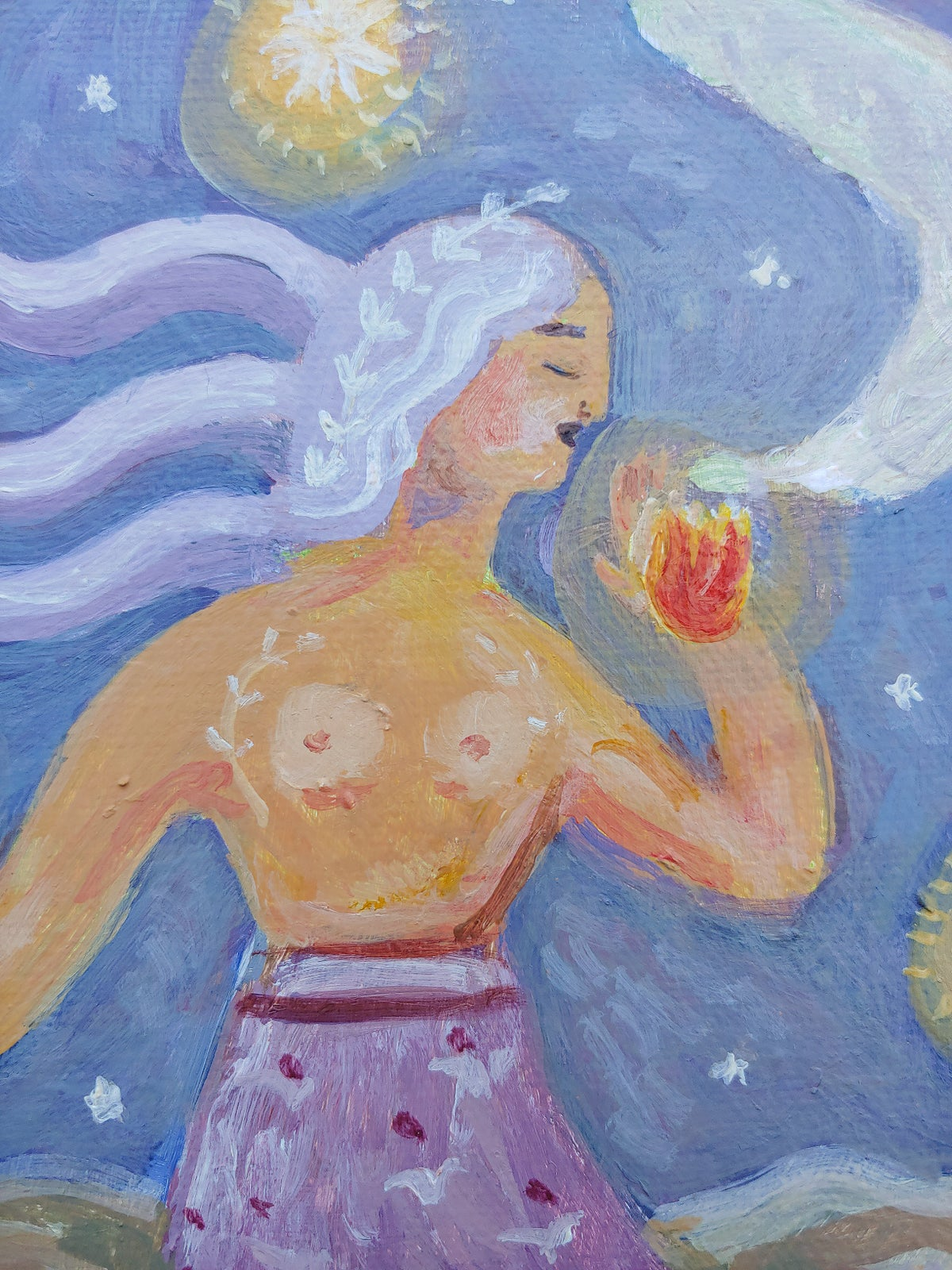 Image of Galaxy Girl | 8x10 Original painting on canvas