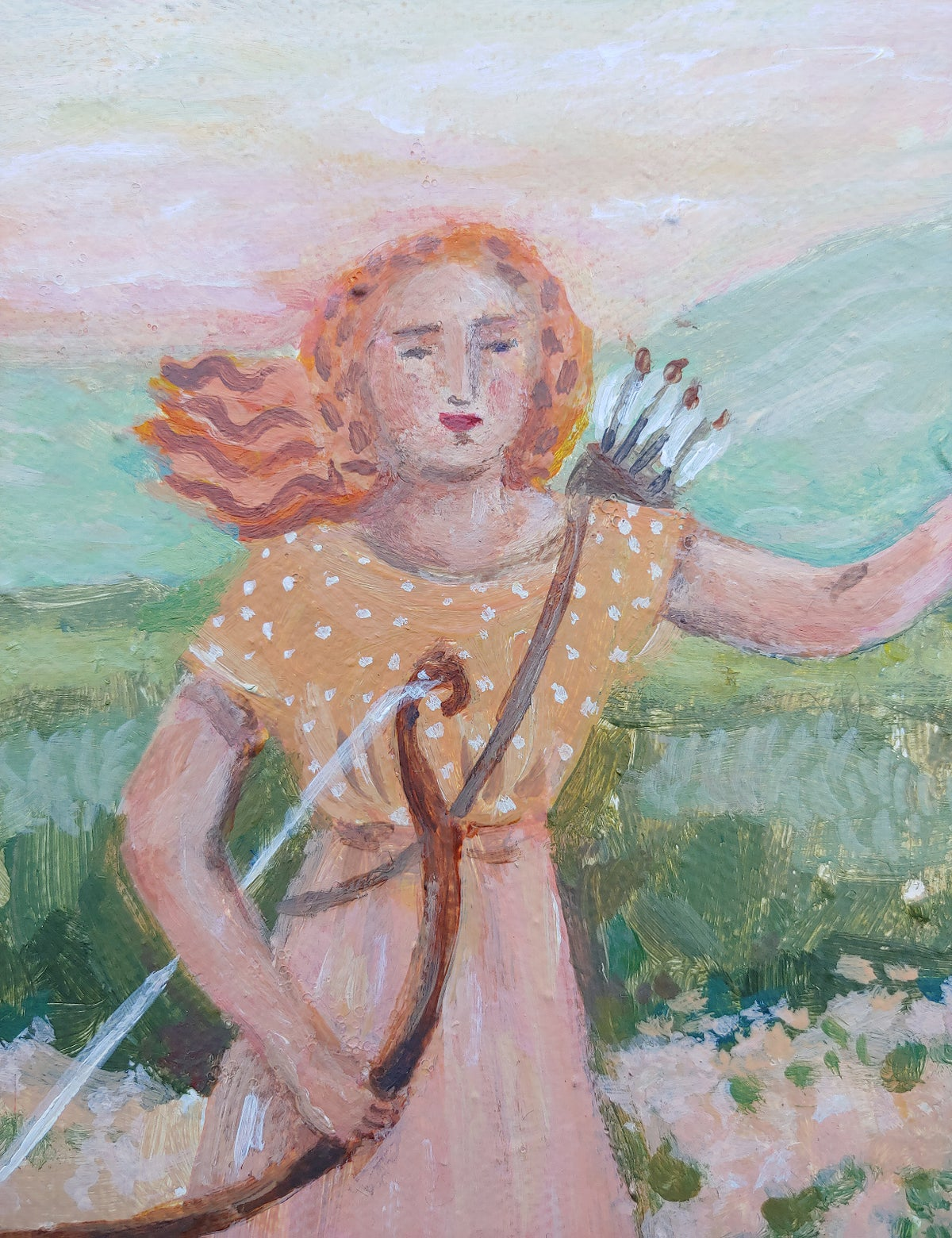 Image of Lady Falconer | 8x10 Original painting on canvas