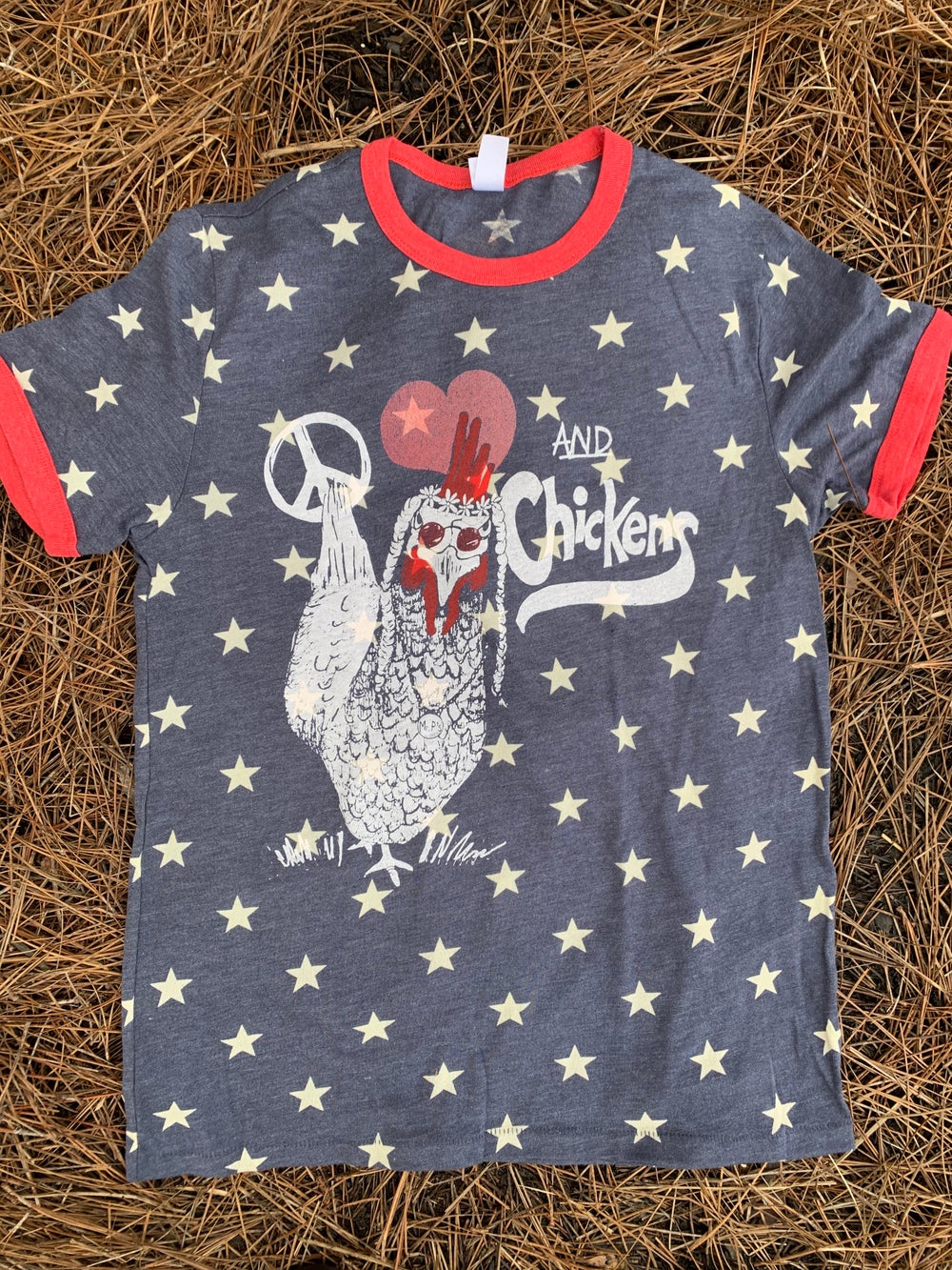 Image of Adult Peace, Love and Chickens on Star Ringer tee