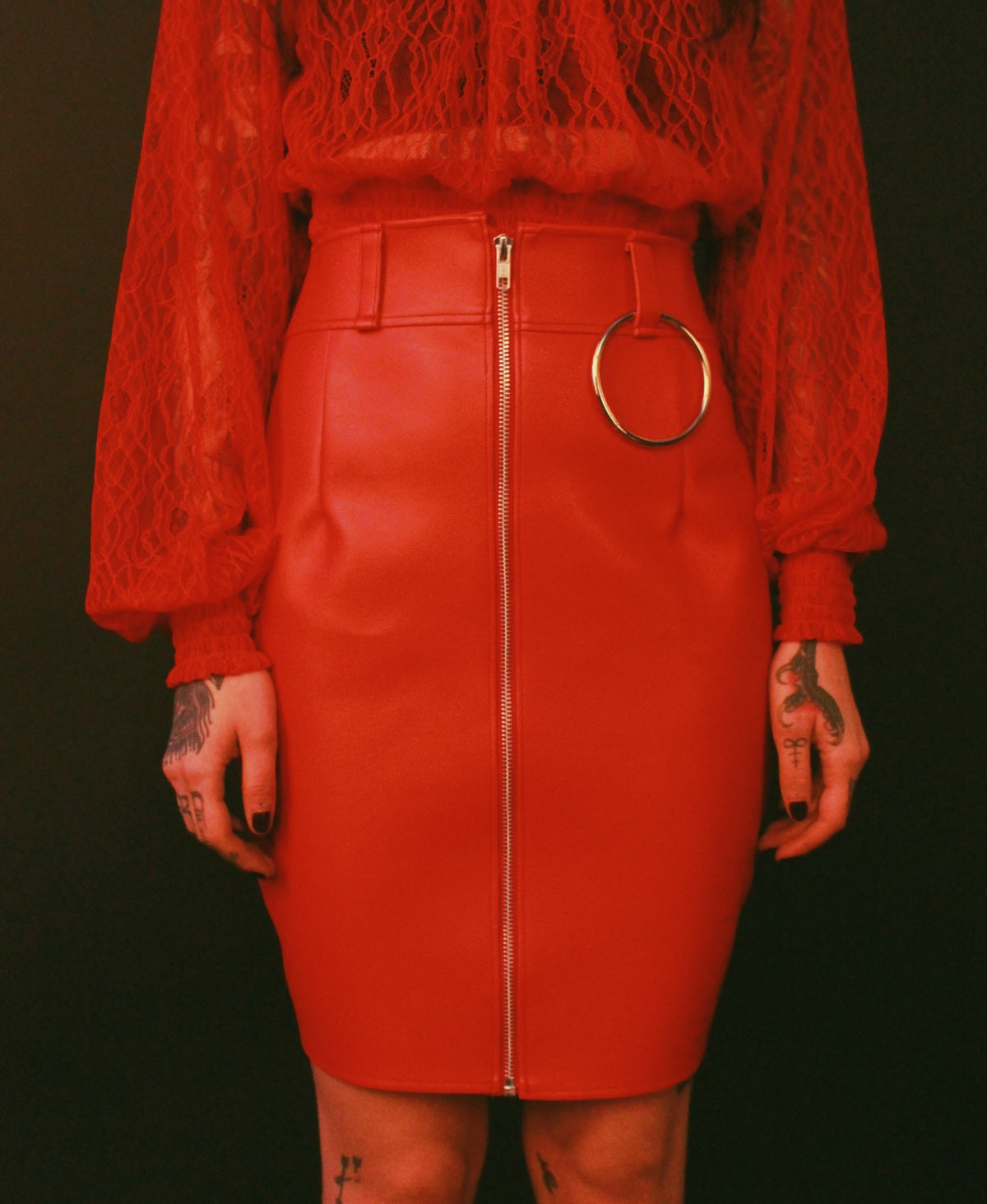 Gwendoline skirt red vegan leather