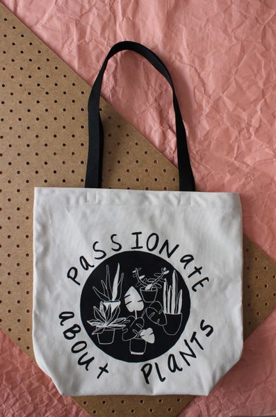 Image of Passionate About Plants tote black straps