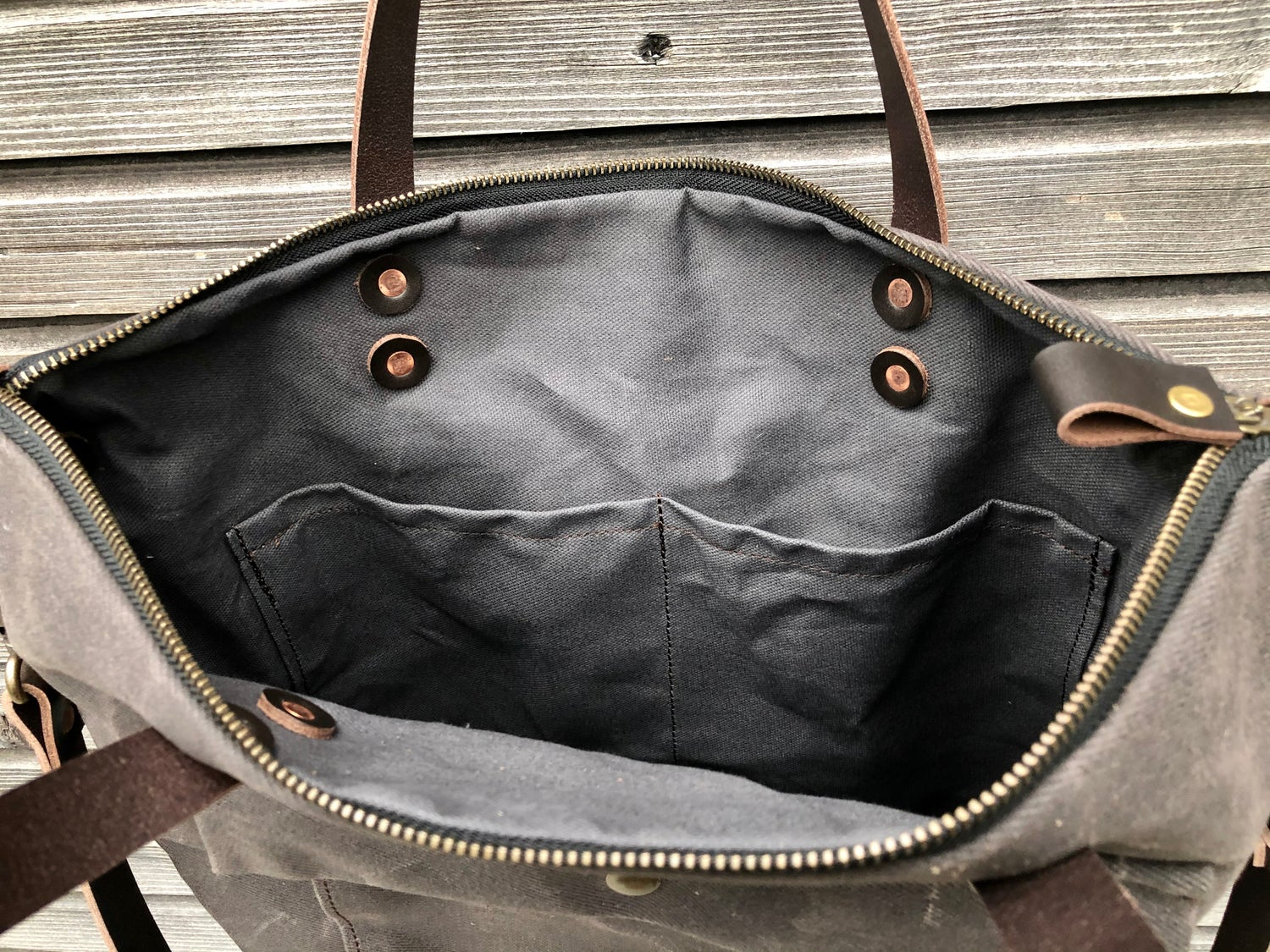 Image of briefcase in waxed canvas and leather COLLECTION UNISEX