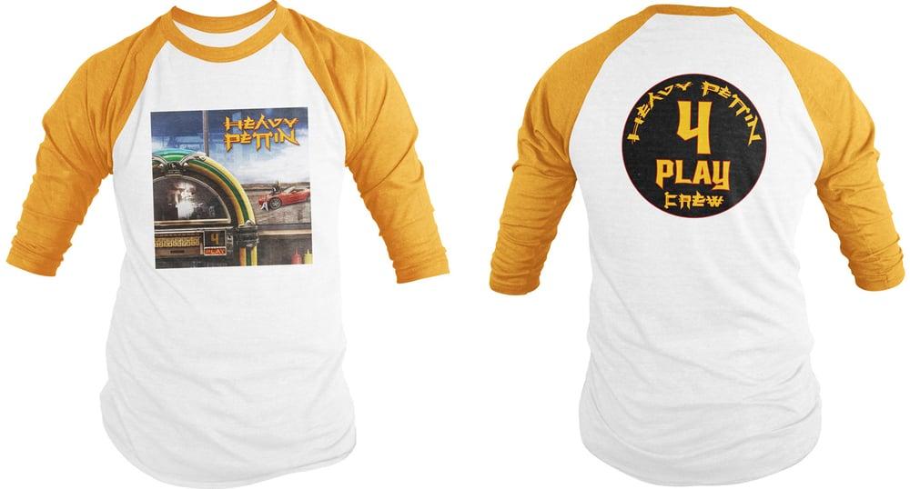 Image of Heavy Pettin'  ~ 4 Play Crew - Pro Baseball Shirt  (Yellow Sleeves)