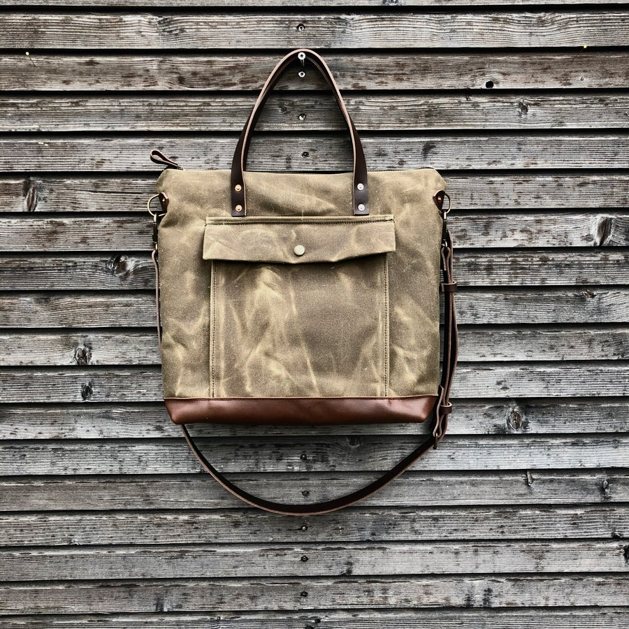Image of Briefcase in waxed filter twill with outside pocket  - Satchel with luggage handle attachment