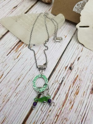 Image of Sea Glass- Handmade-- Fine Silver Link- Necklace- #308