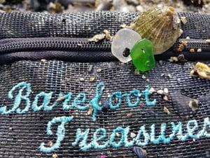 Image of Sea Glass- 4 Leaf Clover- Fine Silver-  Necklace- #307