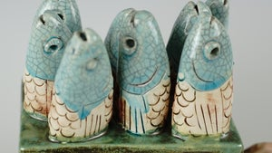 Fish musical box in ceramic