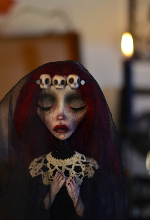Image of OOAK Handmade Dark Art Doll MORANA - victorian doll, victorian mourning, gothic doll, macabre arts