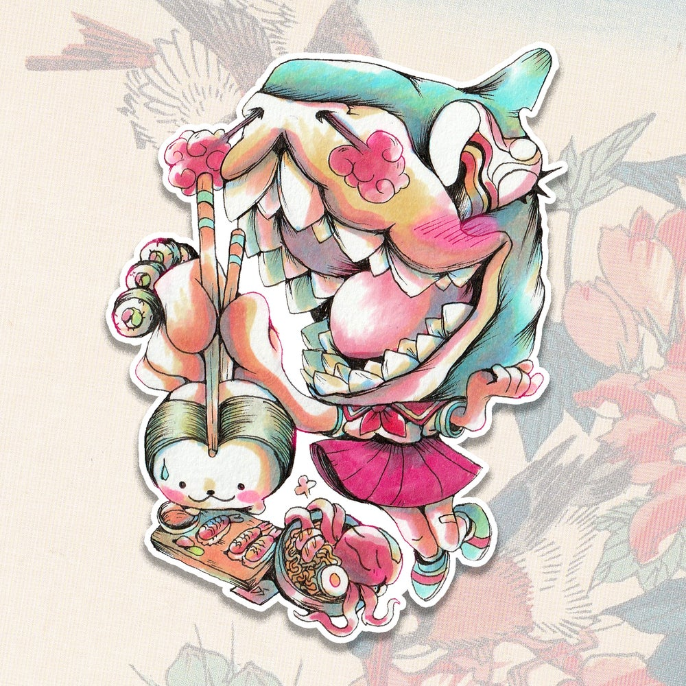 Image of Sushi Shark Girl Sticker