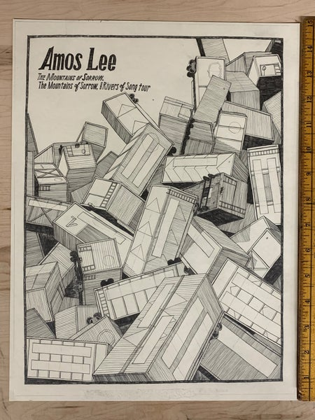Image of Original Drawing for 2013 Amos Lee tour poster (Dan)