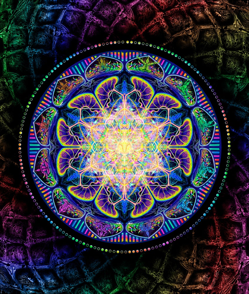 "Image of ""TechnoColor Captivation"" Signed Prints and Tapestries - Psychedelic Digital Mandala"