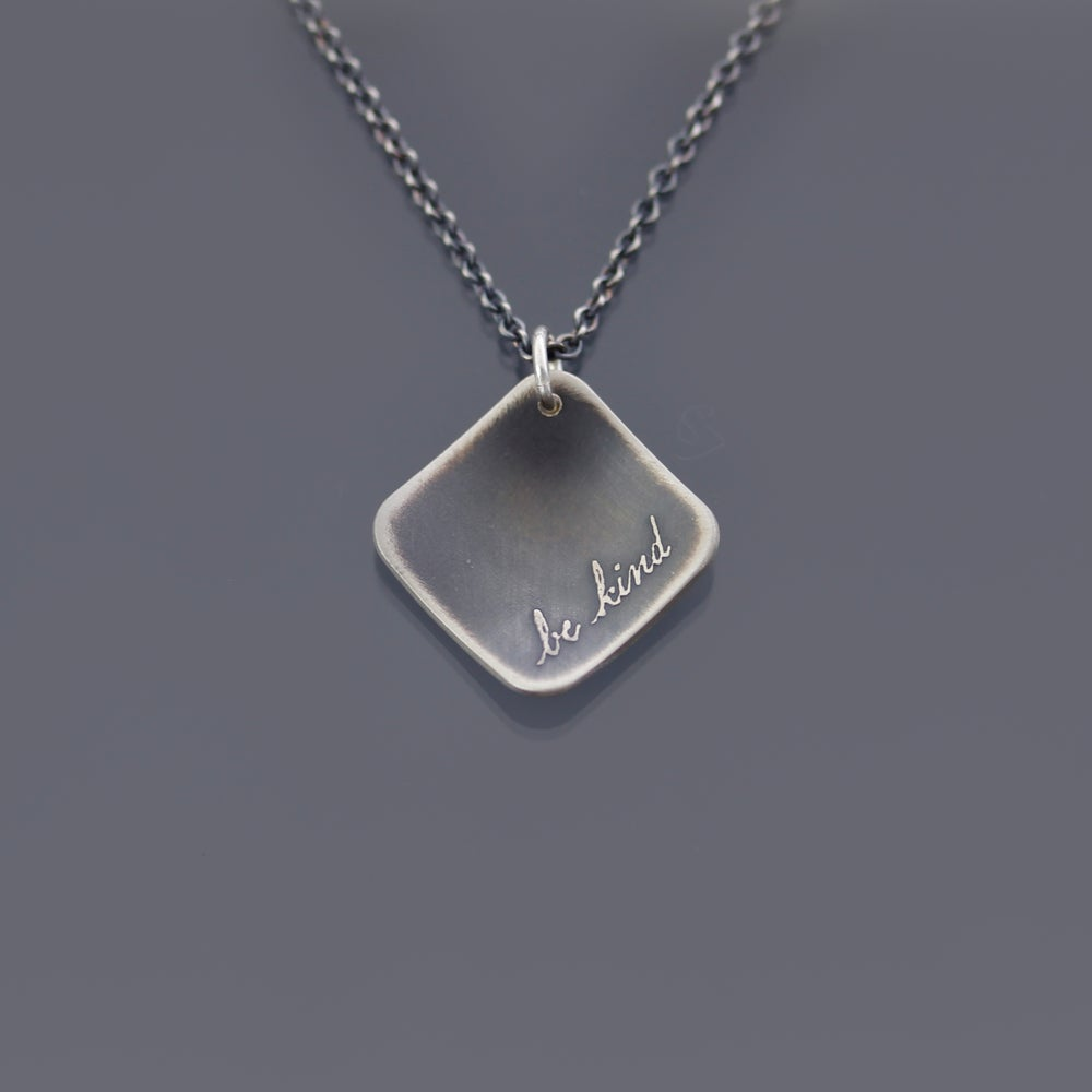 Image of Sterling Silver Diamond-shaped Be Kind Necklace