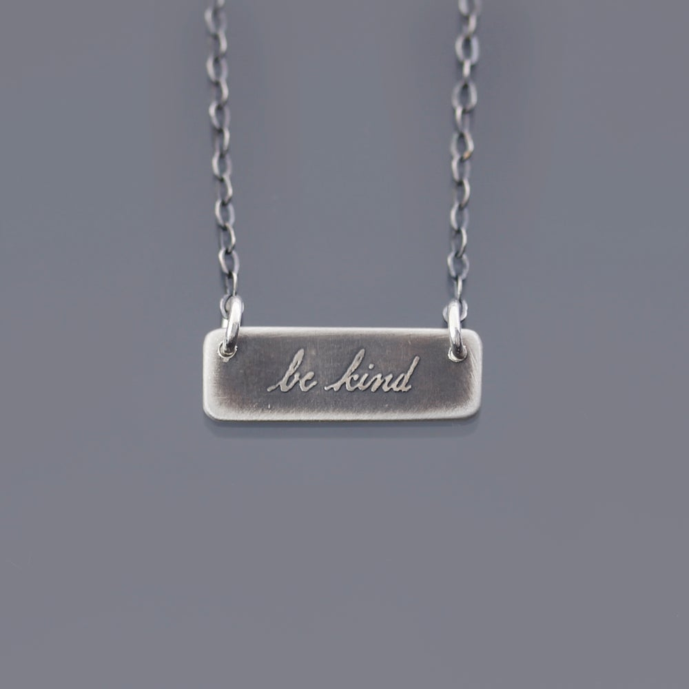 Image of Sterling Silver Be Kind Bar Necklace