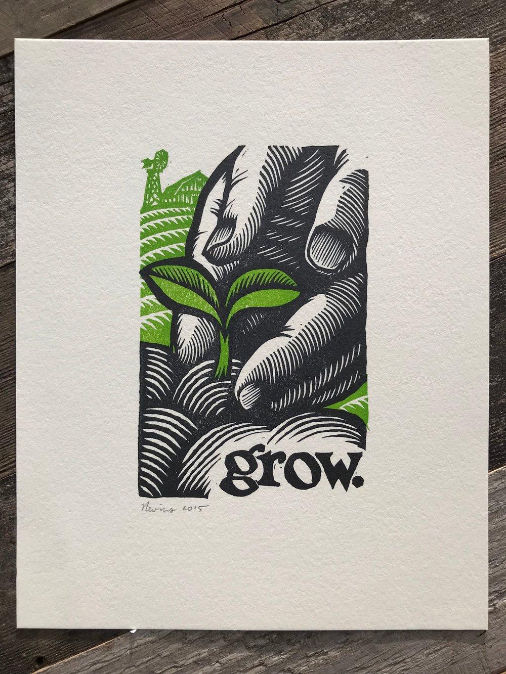 "grow. 8""x10"" HAND-PRINTED ORIGINAL BLOCK PRINT"