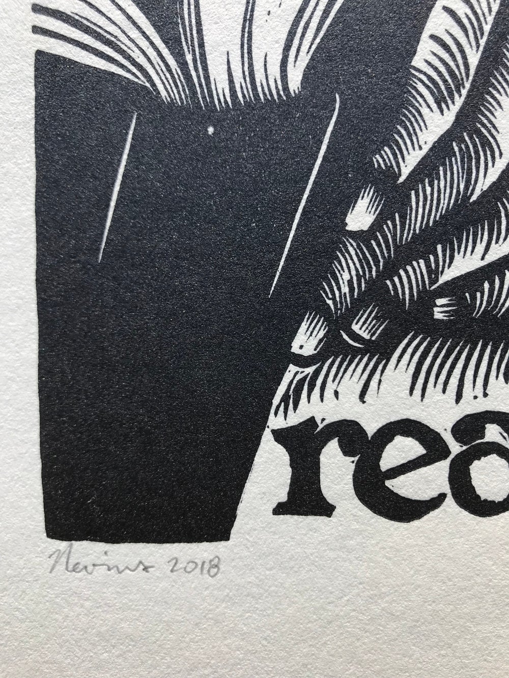 """read. 8""""x10"""" HAND-PRINTED ORIGINAL BLOCK PRINT"""