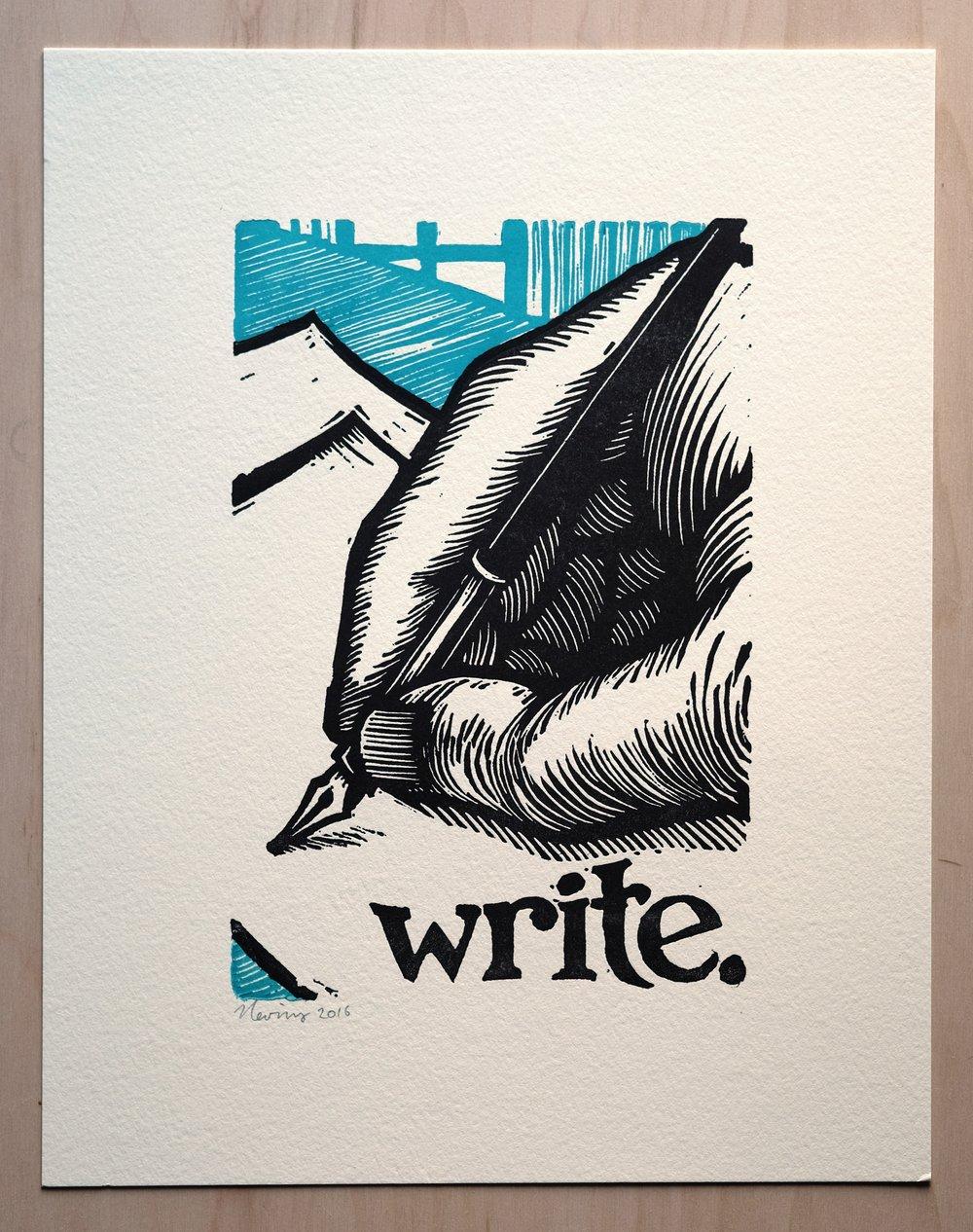 """Image of write.  11""""x14"""" HAND-PRINTED ORIGINAL BLOCK PRINT"""