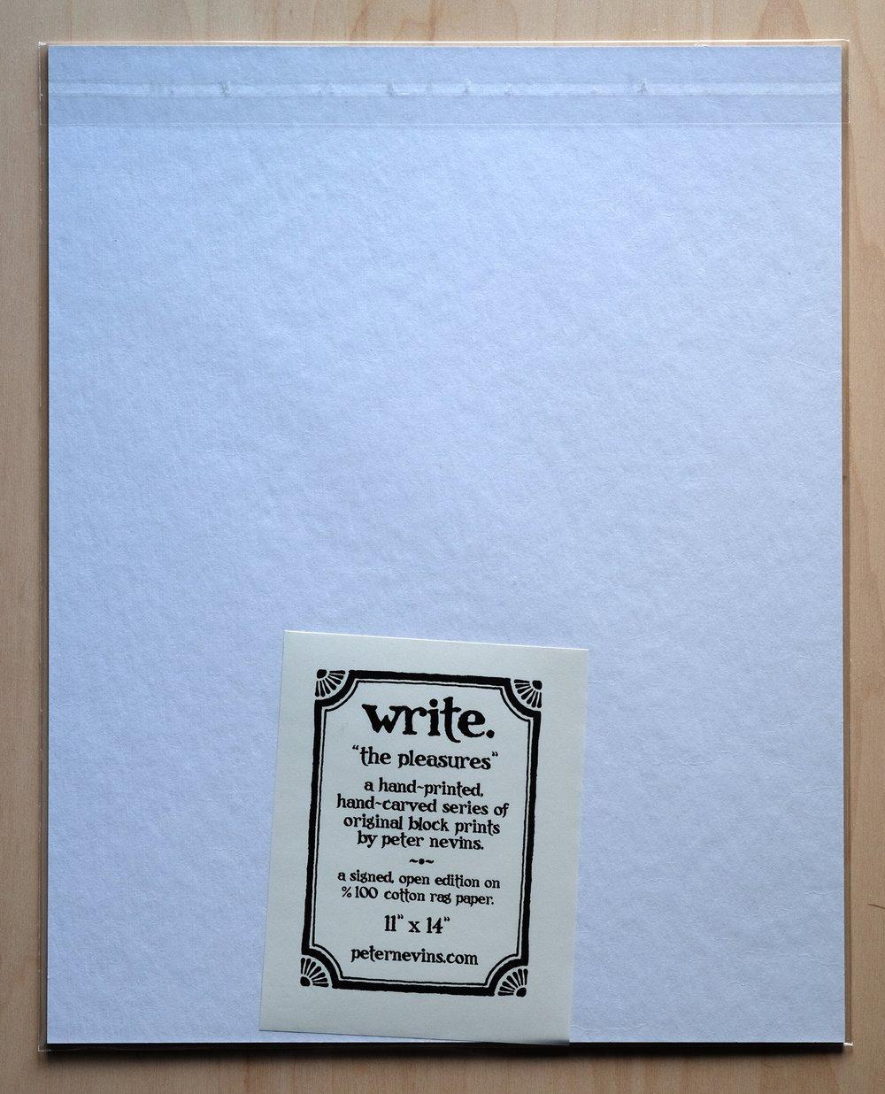 """write.  11""""x14"""" HAND-PRINTED ORIGINAL BLOCK PRINT"""