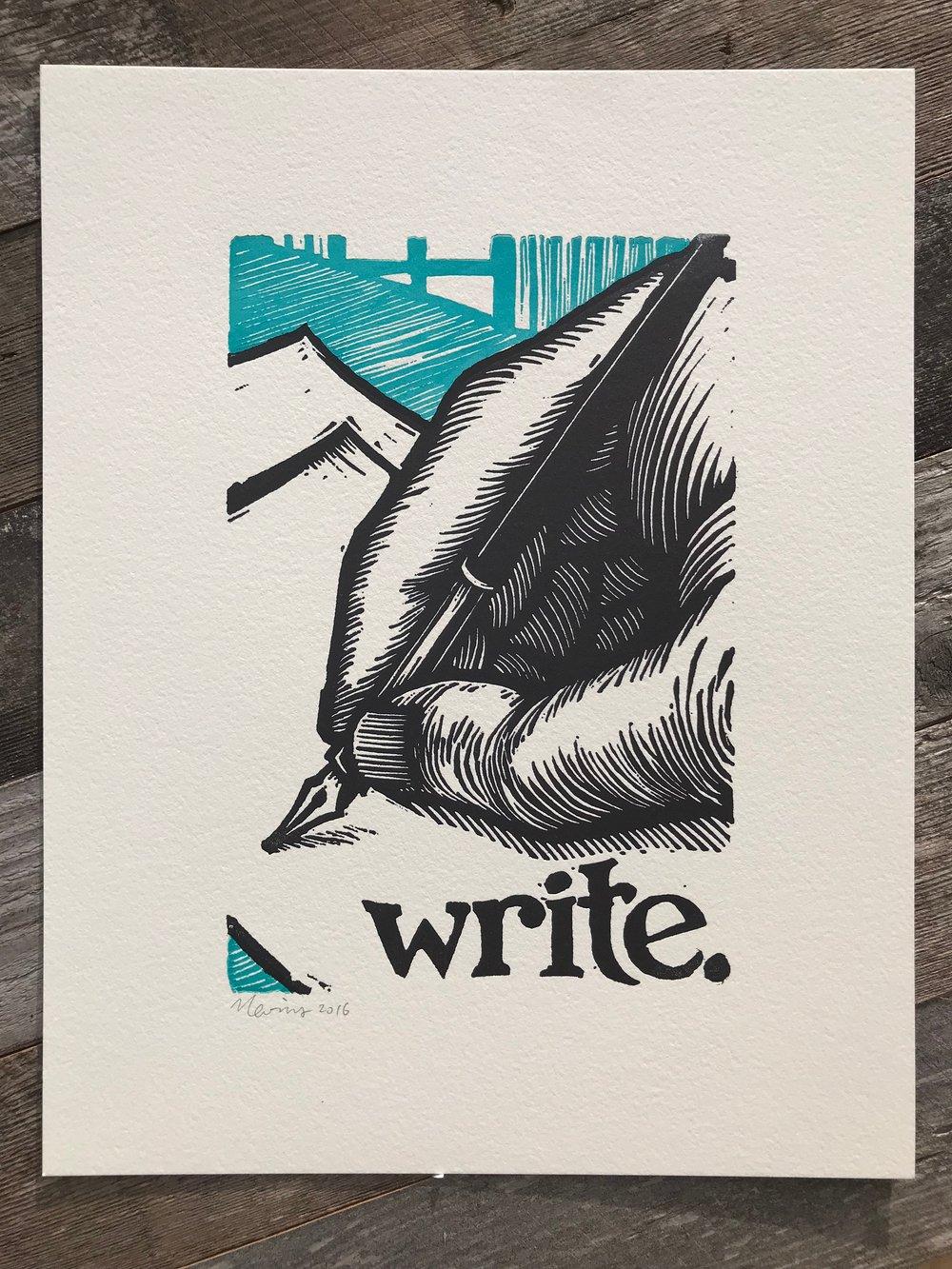 """Image of write.  8""""x10"""" original hand-printed block print"""