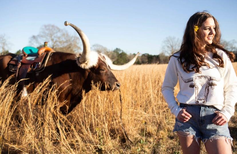Image of Adult Longhorn Sweatshirt in Cream