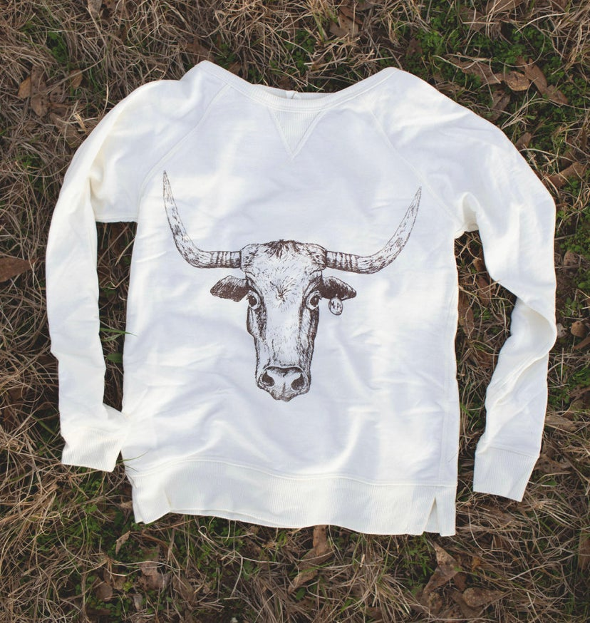 Image of Adult Longhorn Sweatshirt in Cream