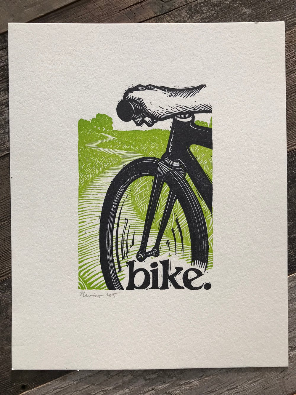 "bike.  8""x10"" hand-printed original block print"