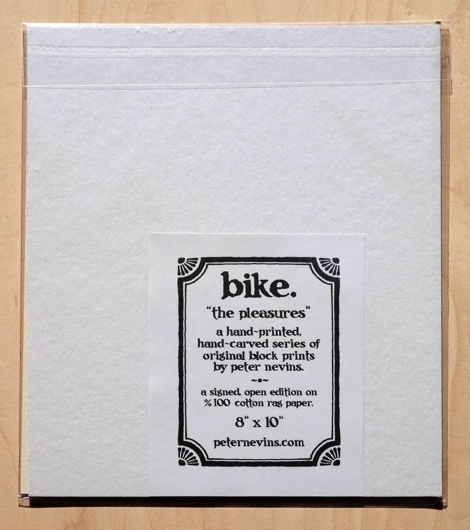 """Image of bike.  8""""x10"""" hand-printed original block print"""