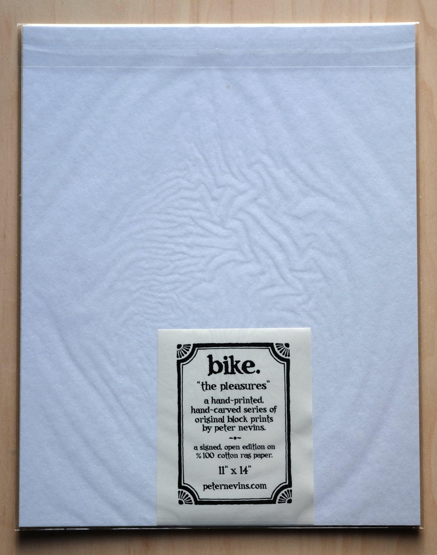 """Image of bike. 11""""x14"""" HAND-PRINTED ORIGINAL BLOCK PRINT"""