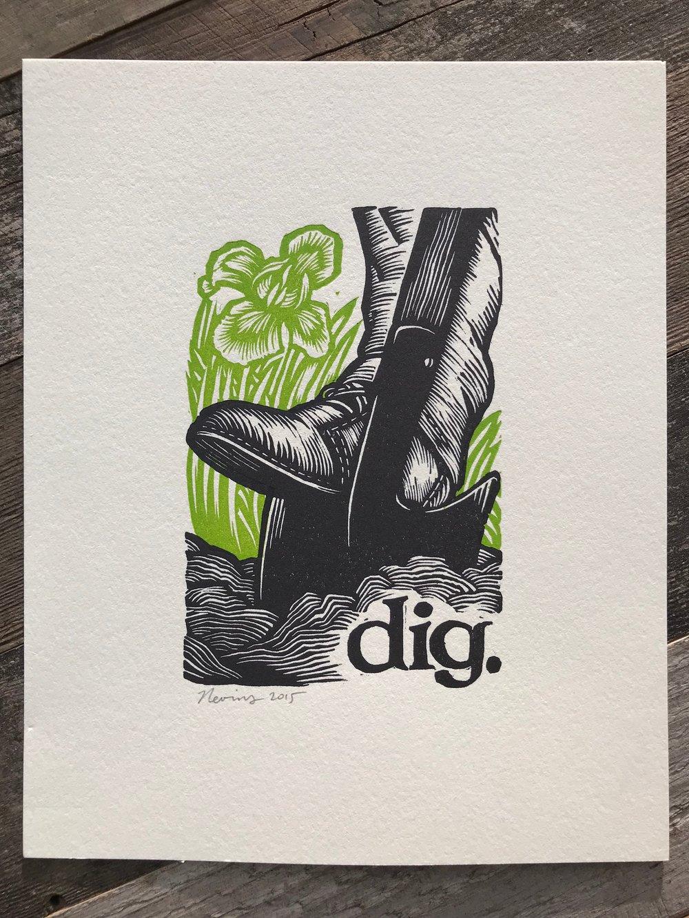 """Image of dig. 8""""x10"""" HAND-PRINTED ORIGINAL BLOCK PRINT"""
