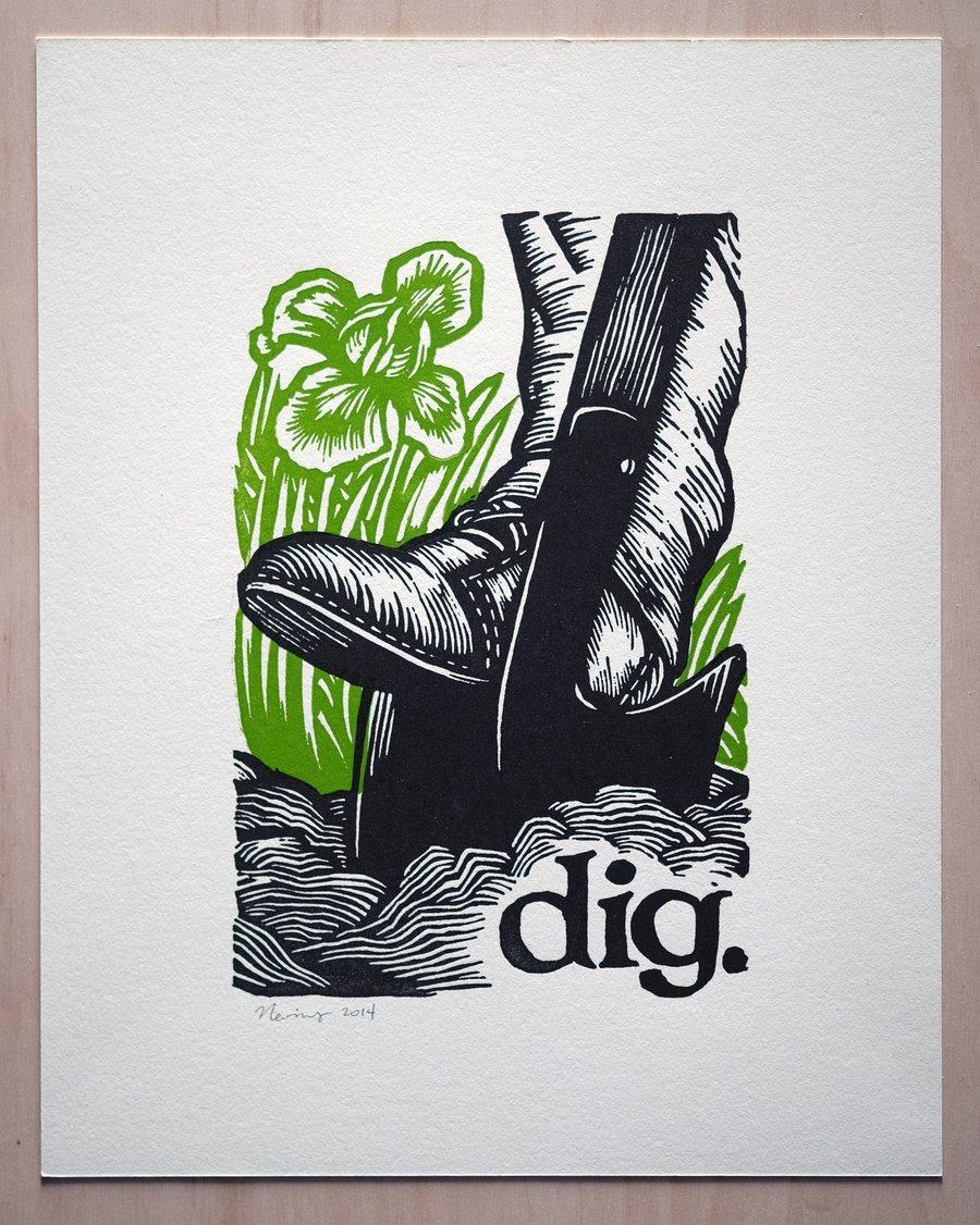 """Image of dig.  11""""x14"""" HAND-PRINTED ORIGINAL BLOCK PRINT"""