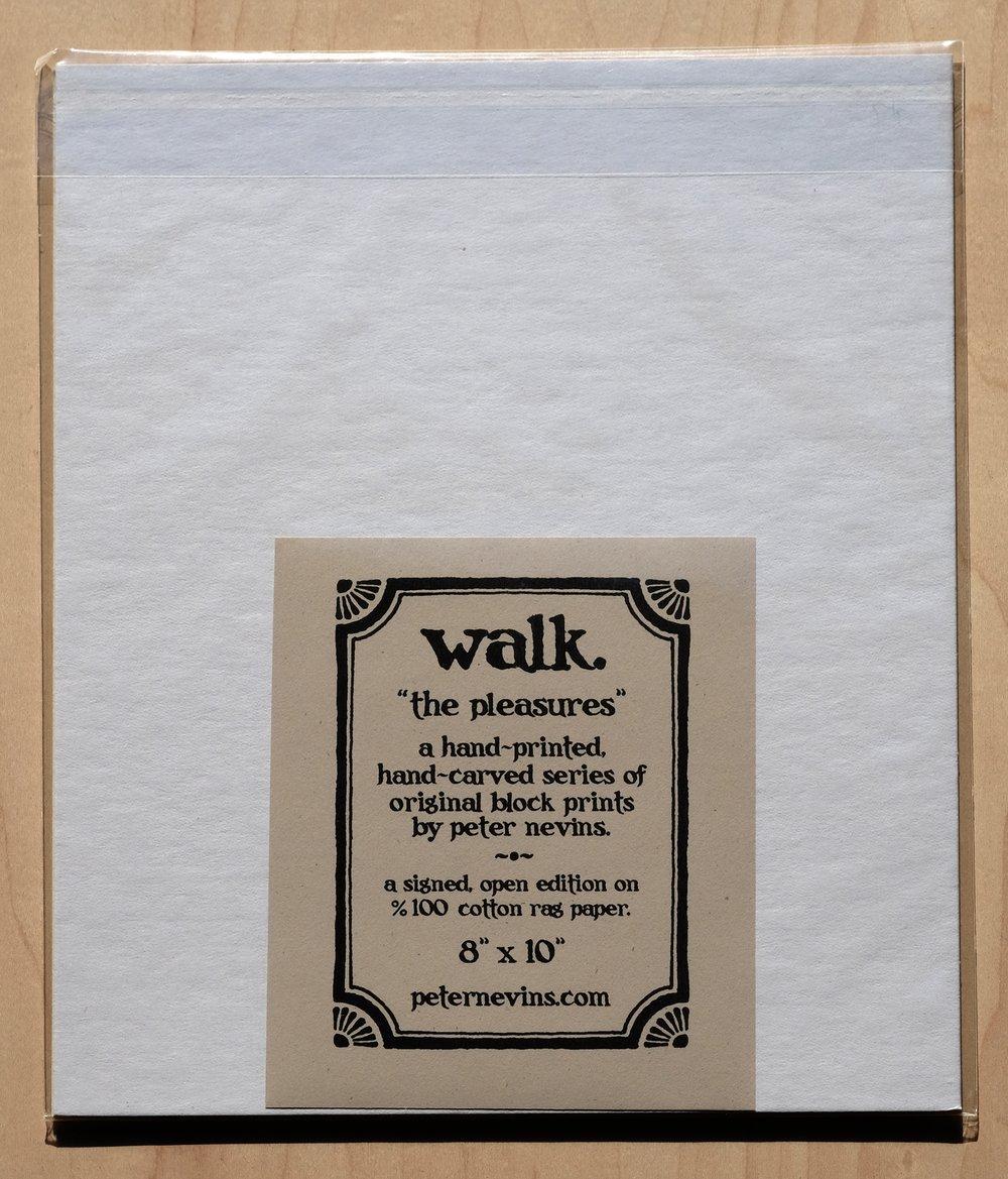 walk.  8x10 HAND-PRINTED ORIGINAL BLOCK PRINT