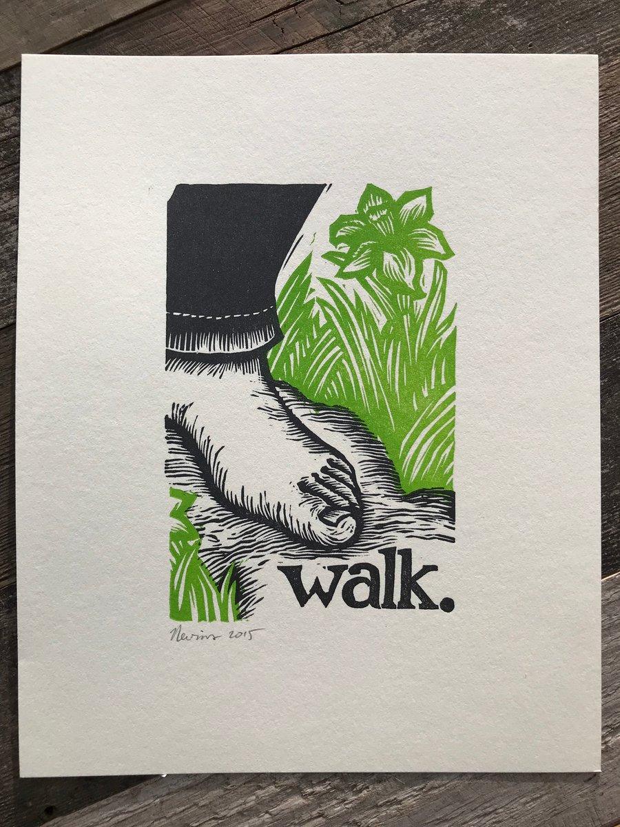 Image of walk.  8x10 HAND-PRINTED ORIGINAL BLOCK PRINT
