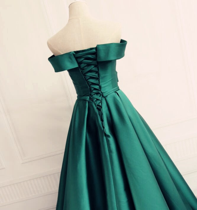 Dark Green Long Party Gown, Off Shoulder Satin Long Prom Dress