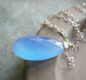 Image of Blue Chalcedony Long Sterling Silver Necklace - Illuminate