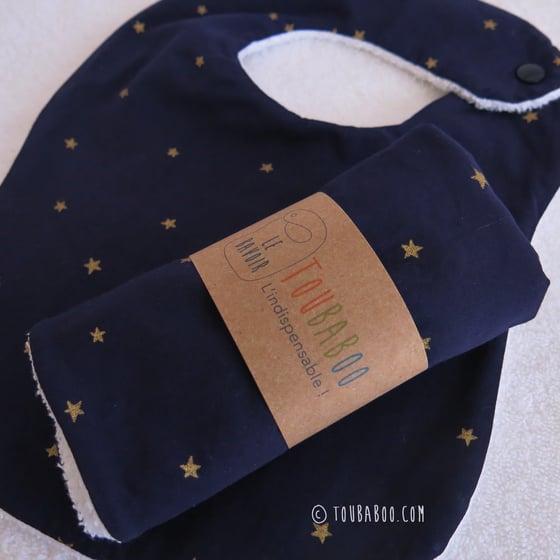Image of Bavoir étoiles dorées marine