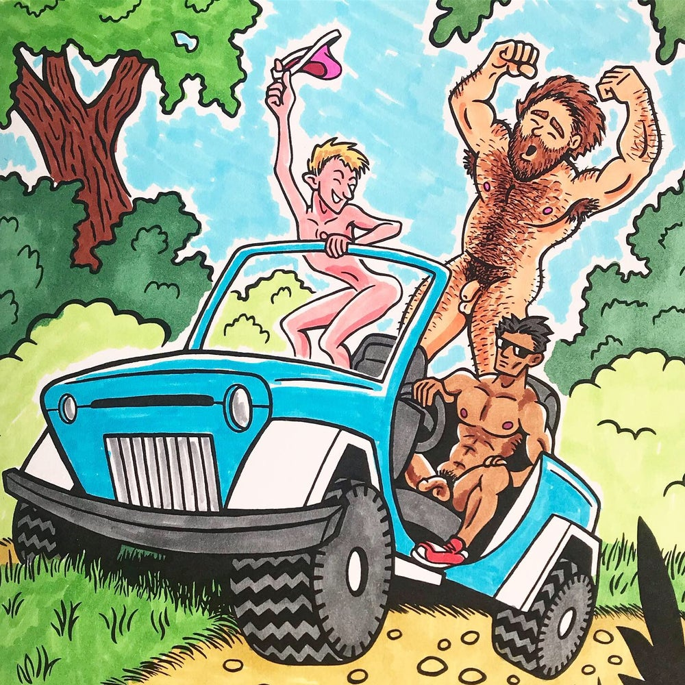 Naked Guys Adult Coloring Book - ART BOOK - Completely Colored!