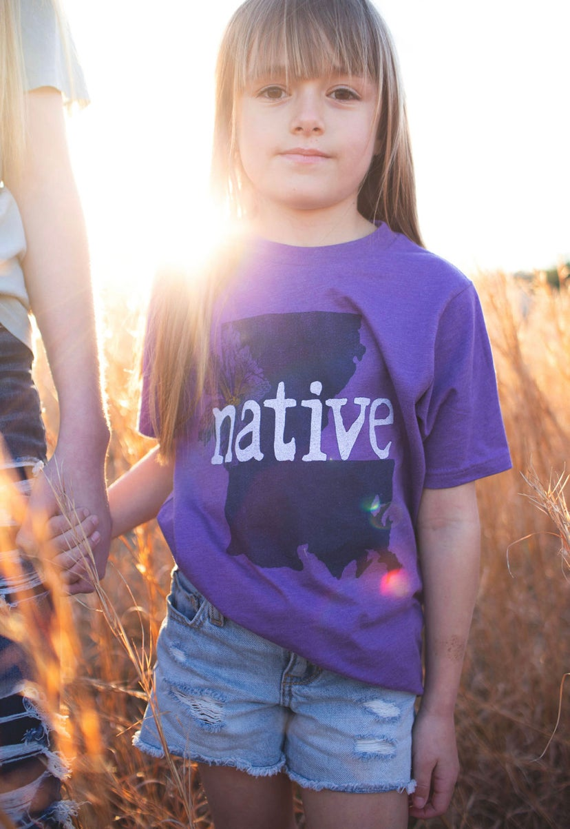 Image of Youth La NATIVE purple tee