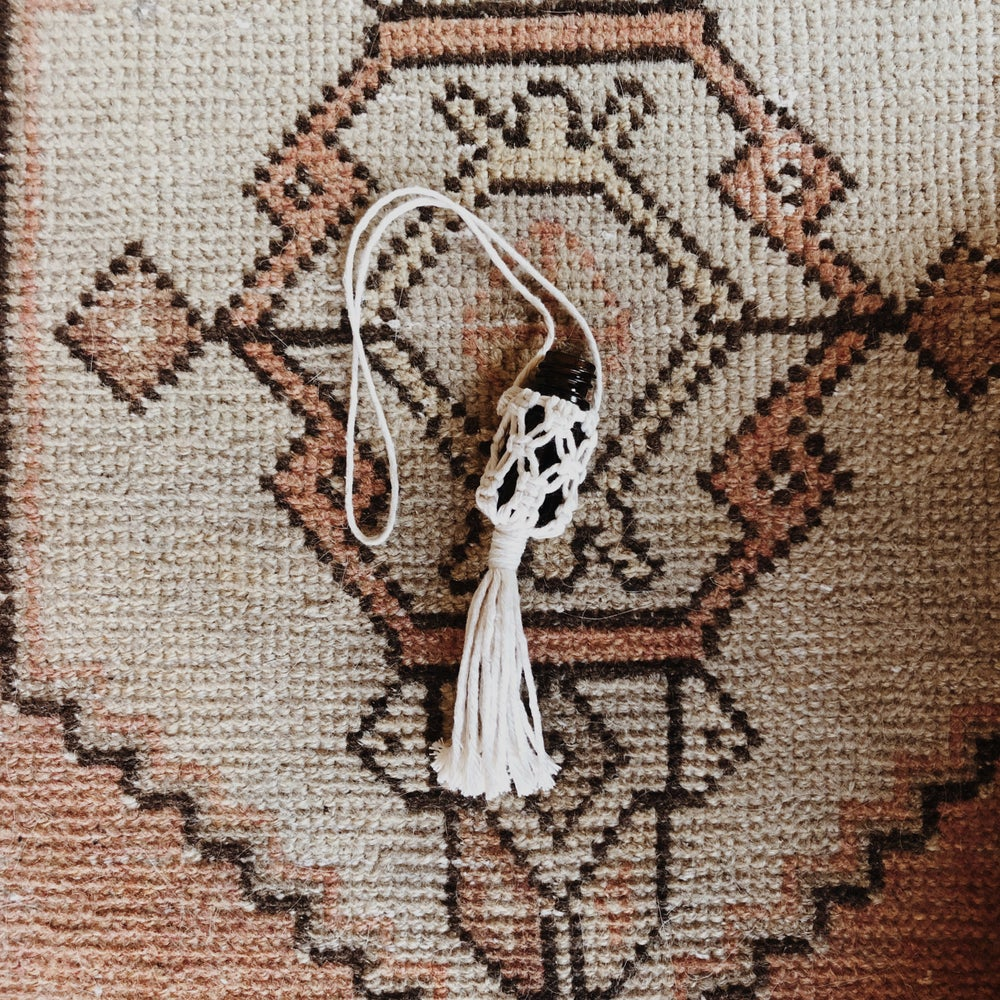Image of macrame car diffuser