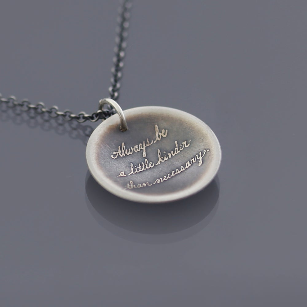 Image of Small Sterling Silver Be Kinder Quote Necklace
