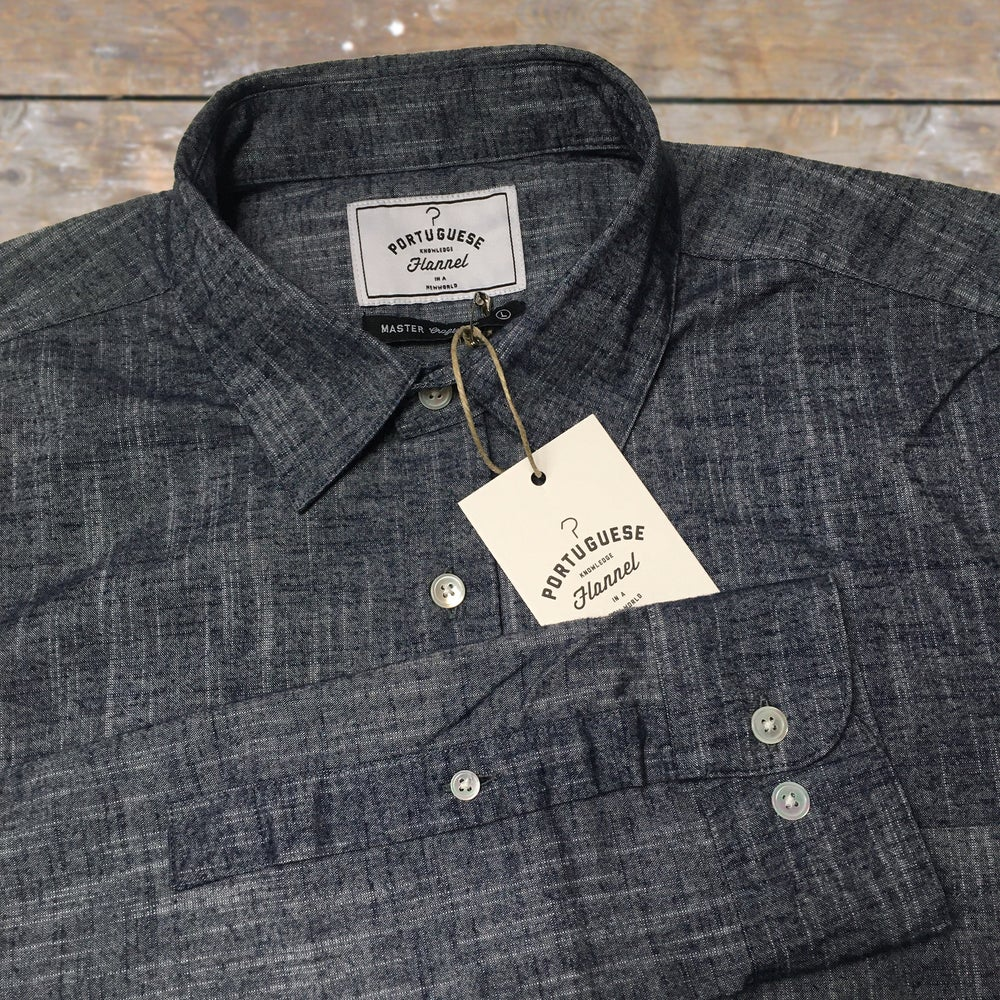 Image of PORTUGUESE FLANNEL BLUE SCRATCH SHIRT