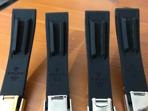 Image of Rolex 20mm Black Rubber Bands,Option of 4 x color deployment clasps