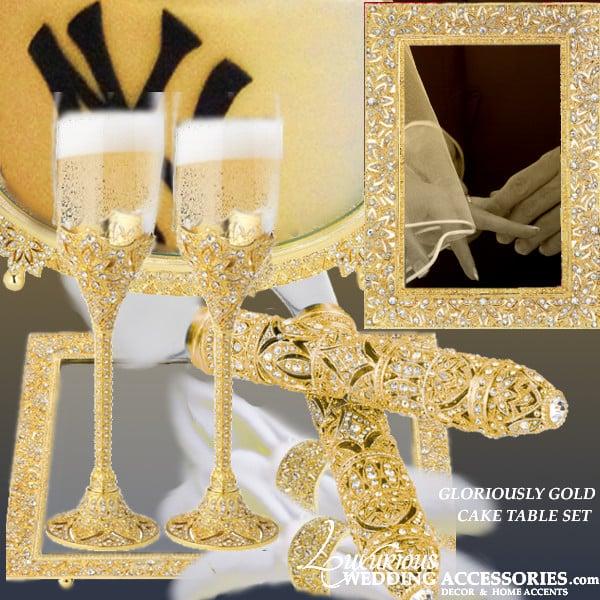 Image of Gloriously Gold Cake Table Decor Set