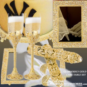 Image of Gloriously Gold Cake Table Decor Set