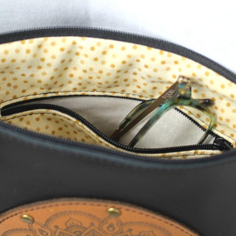 Image of Leather Dance Bag - Mandala Ring Black & Tan