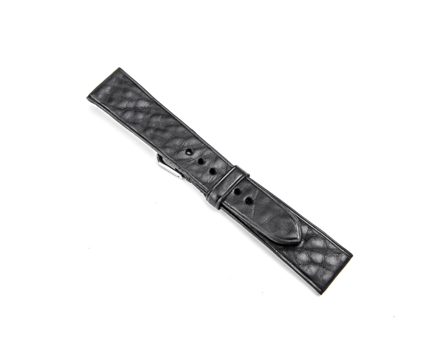 Image of Black tumbled calfskin watch strap 20 mm