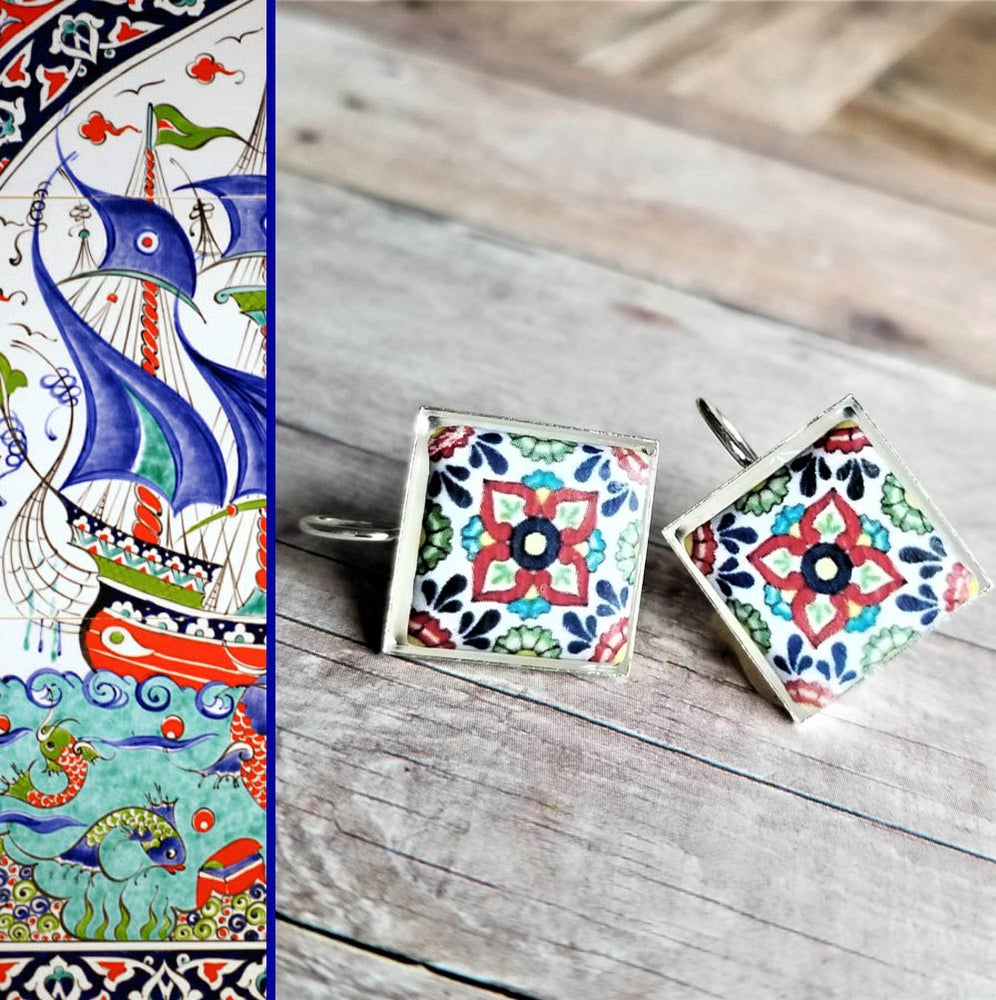 Image of Mediterranean Tile Earrings - Navy Red Green