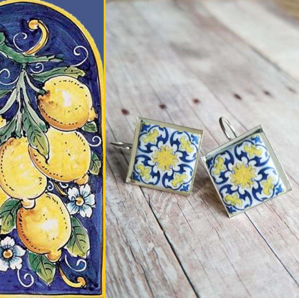 Image of Mediterranean Tile Earrings - Navy + Lemon Yellow
