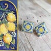Mediterranean Tile Earrings - Navy + Lemon Yellow