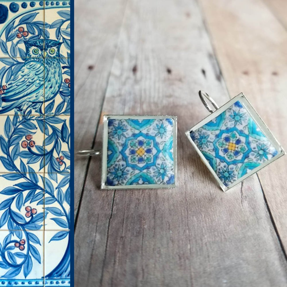 Image of Mediterranean Tile Earrings - Soft Aqua
