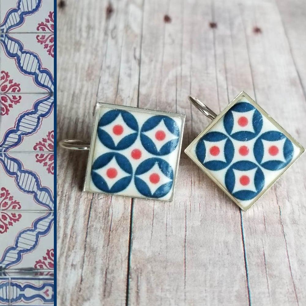 Image of Mediterranean Tile Earrings - Navy + Red