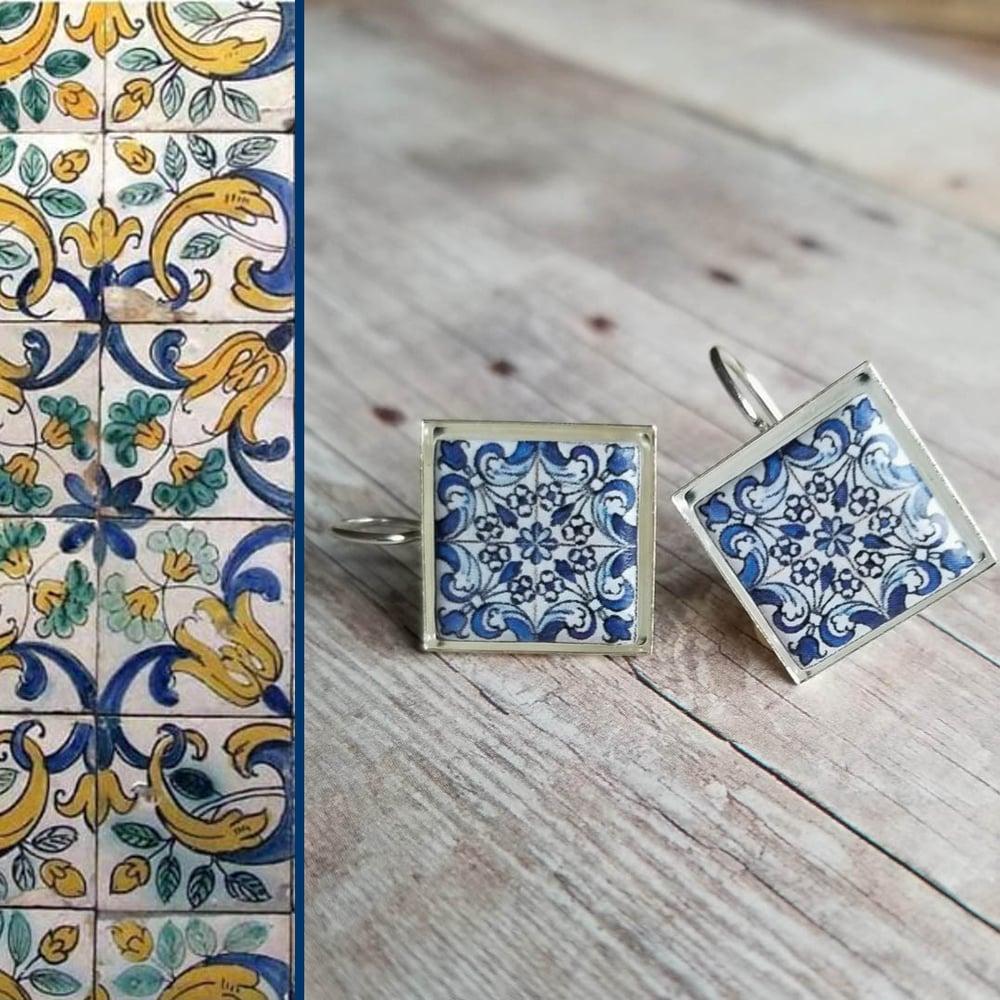 Image of Mediterranean Tile Earrings - Navy Blue